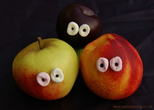 Eats Amazing UK - Add instant eyes to fruit with mini marshmallows and edible marker pens - make them spooky for Halloween