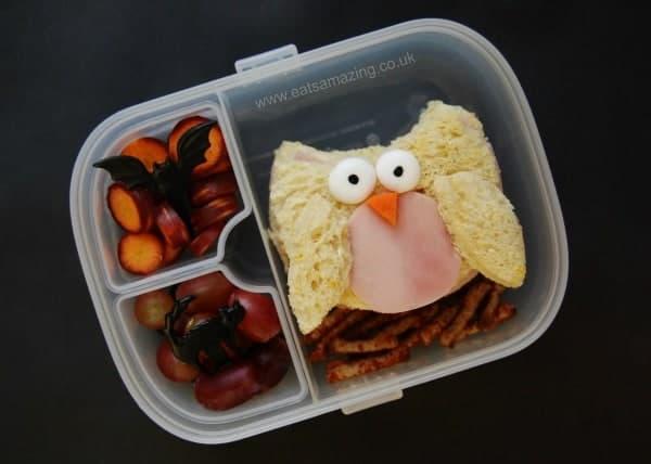 Eats Amazing UK - Bento school lunch with owl sandwich for Halloween