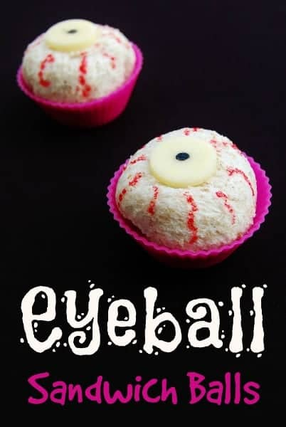 Eats Amazing UK - Eyeball Sandwich Balls - ideal for Halloween themed bento lunches snacks or party food