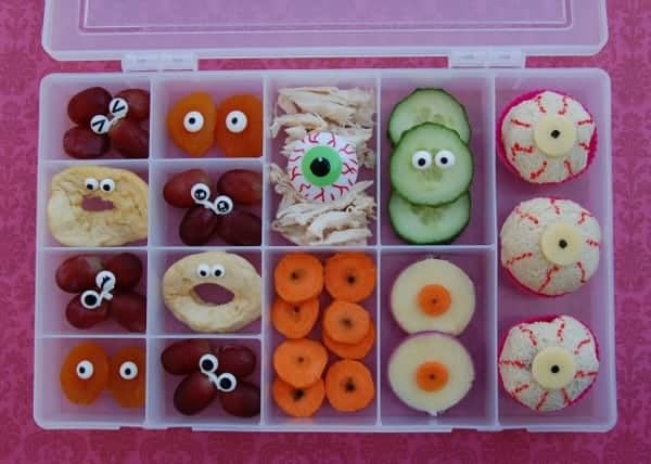 Eats Amazing UK  - Eyeball Themed snack lunch served up in a craft box - fun Halloween food idea