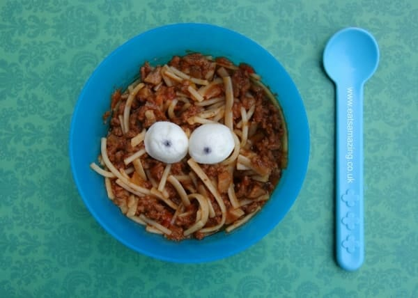 Eats Amazing UK - Fun food idea for the kids dinner at Halloween - Eyeballs and Spaghetti - Small Baby had some too