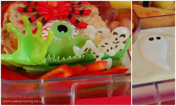 Eats Amazing UK - Halloween Themed bento school lunch made by six year old Small Child - close up
