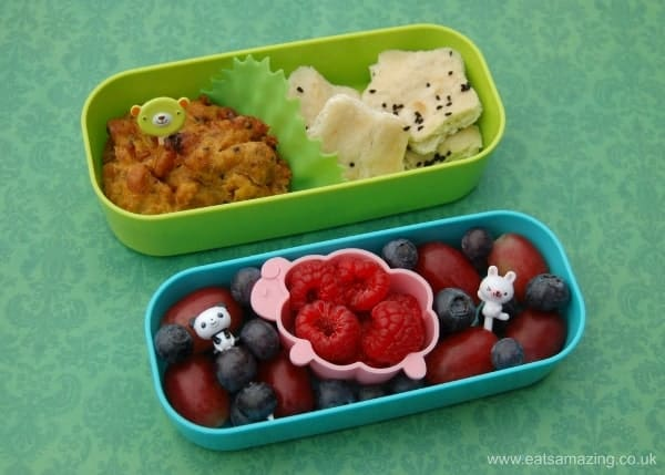 Eats Amazing UK - Side dishes in a small childs bento box to go with a warm curry - school lunch idea