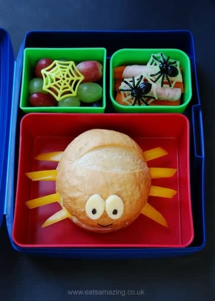 Eats Amazing UK - Spider Themed Kids Bento School Lunch for Halloween