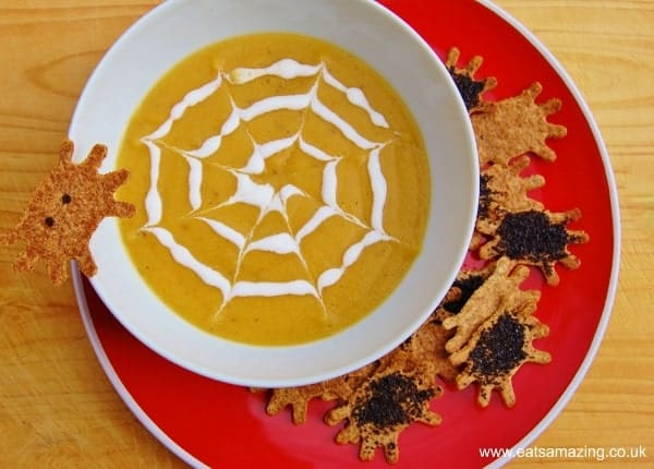 Eats Amazing UK - Spiderweb soup with baked tortilla chip spiders - great food for Halloween