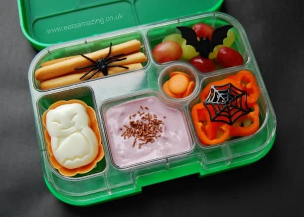 Eats Amazing UK - a simple Halloween Yumbox with Bats and Spiders - Bat shaped egg moulded using the CuteZcute Animal Palz Set