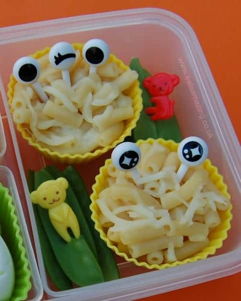 Eyeball Picks can make healthy food fun - transform leftover pasta into macaroni monsters - available in the UK from Eats Amazing