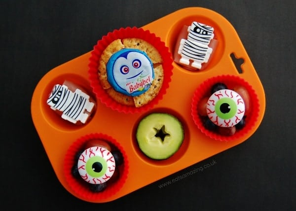 Fun and Easy Halloween Food Idea for Kids - Simple Muffin Tin Meal with a Halloween Theme from Eats Amazing UK