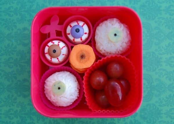 Fun eyeball themed kids snack box idea with rice eyeballs from Eats Amazing UK