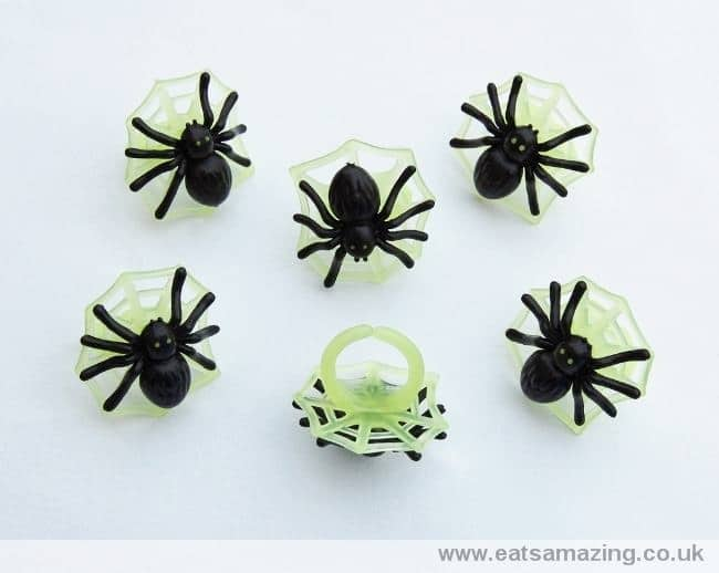 Glow in the dark spider on web cupcake rings