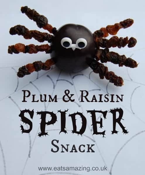 Healthy but fun Spooky Spider Snack for kids at Halloween from Eats Amazing UK