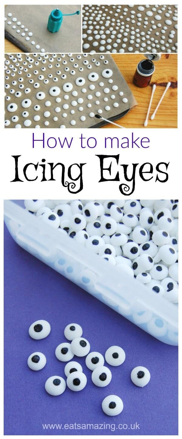 How to make Icing Eyes for cake decorating cookies and fun food for kids - tutorial from Eats Amazing UK #funfood #cakedecorating #foodart #icingcookies #googlyeyes #edibleart #kidsfood