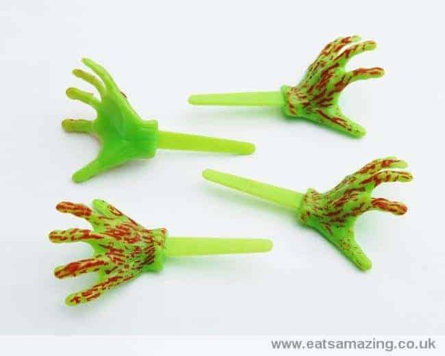 Monster Zombie hands Halloween cupcake picks