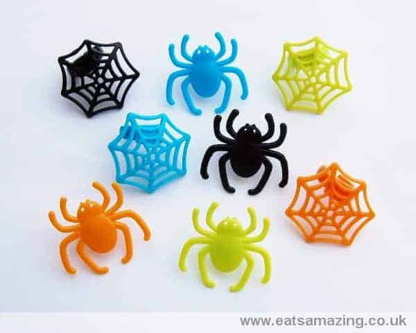 bright spider and web cupcake rings