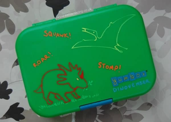 Decorate the outside of your Yumbox Lunch Box with Chalk Markers and Dinosaur Stensils - Eats Amazing UK