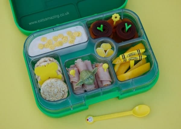 Eats Amazing - Alphabet Themed Kids Bento Lunches - Y is for Yumbox Yellow Pepper Yoda Yoghurt