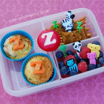 Eats Amazing UK - Alphabet Themed Kids Bento School Lunch - Z is for Zucchini Omlettes, Zebra & Zoo - Fun and healthy childrens food
