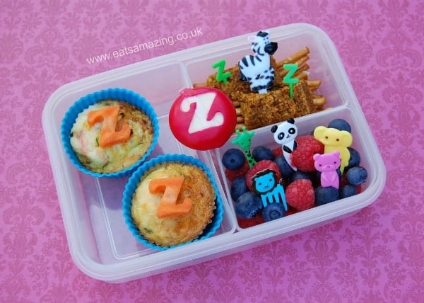 Eats Amazing - Alphabet Themed Kids Bento Lunches - Z is for Zucchini Omlettes Zebra Zoo