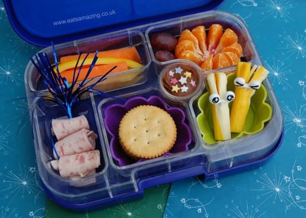 fireworks themed bento lunch idea in the yumbox from eats amazing uk eats amazing. Black Bedroom Furniture Sets. Home Design Ideas