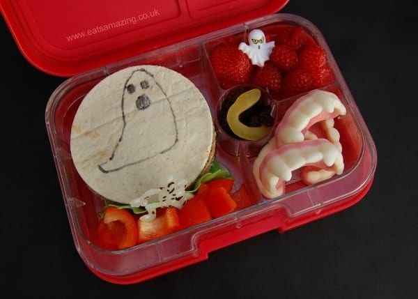 Ghostly Bento Lunch for Halloween with doodle on your sandwich idea from Eats Amazing UK