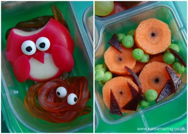 Gruffalo book themed food - Babybel Owl - Scrambled Snake - Edible Orange Eyes - Poisonous Warts - Purple Prickles from Eats Amazing UK