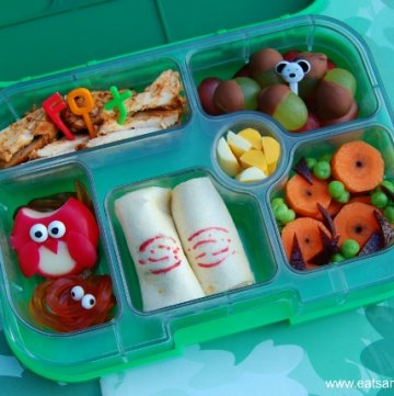 Gruffalo food - book themed school lunch idea with Babybel Owl from Eats Amazing UK - fun and healthy children's food