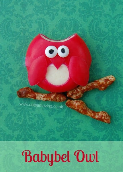 Harry Potter Party Food Idea - Simple Babybel Owl from Eats Amazing UK - Just circle cutters and edible eyes to make it