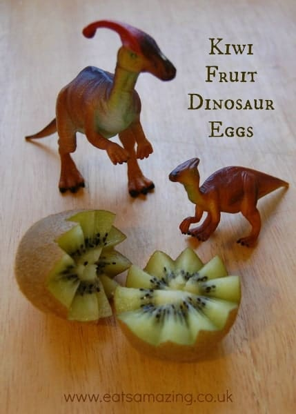 Kiwi fruit is a whole lot more fun to eat for kids when you turn it into a dinosaur egg - idea and tutorial from Eats Amazing UK