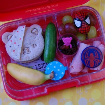 Pudsey Superhero kids themed bento packed lunch for Children in Need Day in the Yumbox from Eats Amazing UK