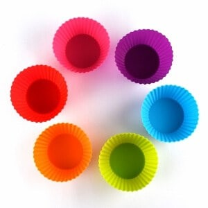 Rainbow silicone cups - brightly coloured cupcake cases - muffin cases for baking and dividing up lunch boxes - from the Eats Amazing UK Bento Shop