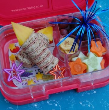 Rocket Firework Themed Bento Packed Lunch in the Yumbox Panino for Bonfire Night - Eats Amazing UK - making healthy food fun for kids