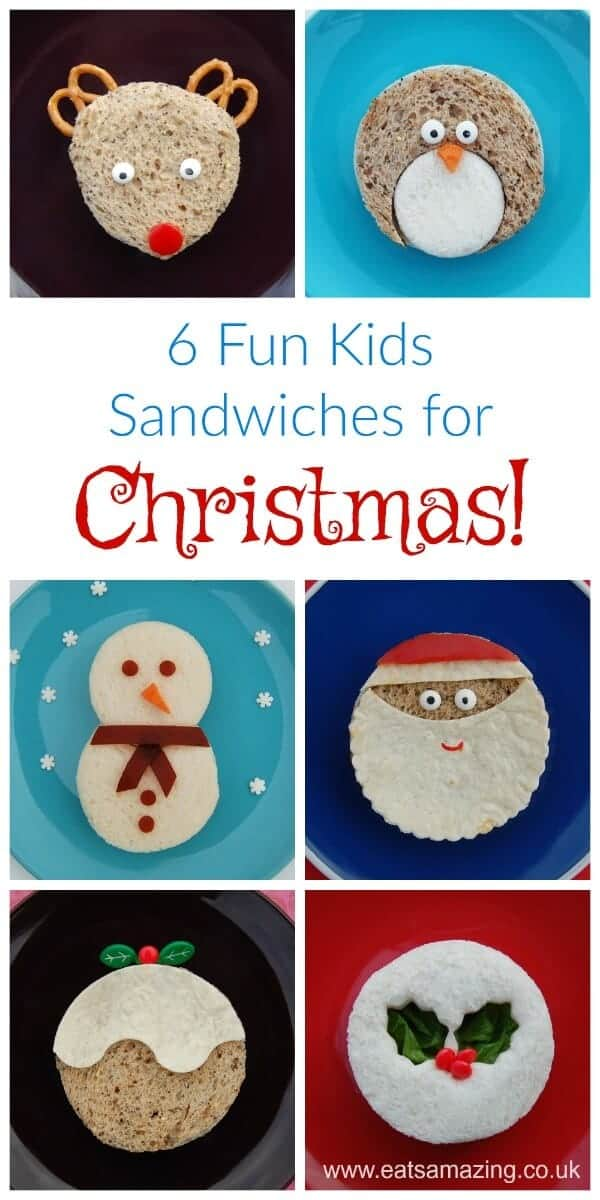 6 Easy fun sandwiches for Christmas - fun food for kids - perfect for festive party food and lunch boxes - Eats Amazing UK #Christmas #FoodArt #ChristmasFood #sandwich #kidsfood #funfood #creativefood #christmasparty #partyfood #bento
