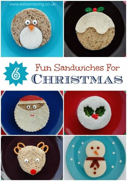 Eats Amazing UK - 6 quick and easy Christmas themed sandwiches for childrens party food, healthy snacks and fun packed lunches