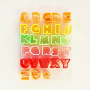 Eats Amazing UK Bento Shop - Mini Alphabet Cutters for Childrens Lunches and Cake Decorating - Learn phonics while you eat