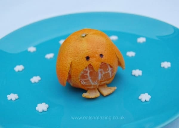 Eats Amazing UK - Clementine Penguin - fun and healthy fruit snack idea for kids