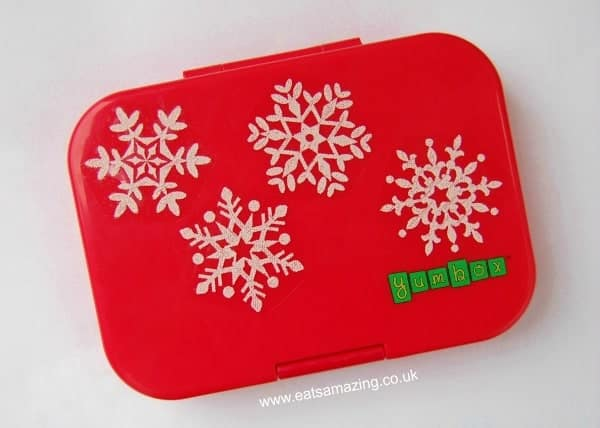 Eats Amazing UK - Cusomise a plain lunch box like the Yumbox with seasonal window clings