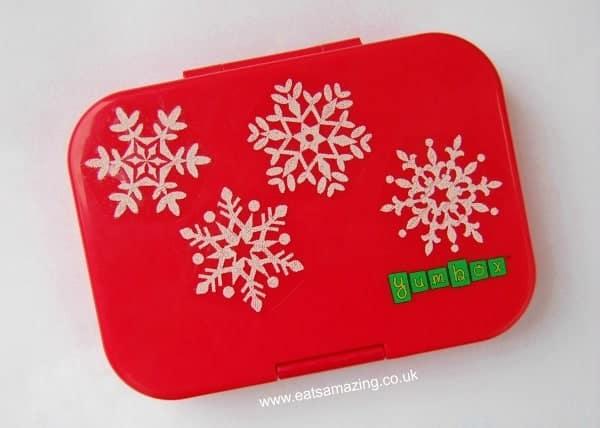 Eats Amazing UK - Cusomise a plain lunch box like the Yumbox with seasonal window clings