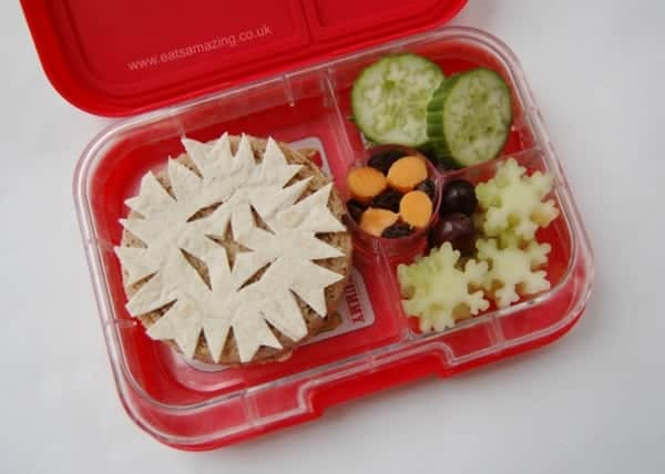 Eats Amazing UK - Decorate a winter sandwich with snowflakes cut from a tortilla wrap - fun and healthy children's packed lunch