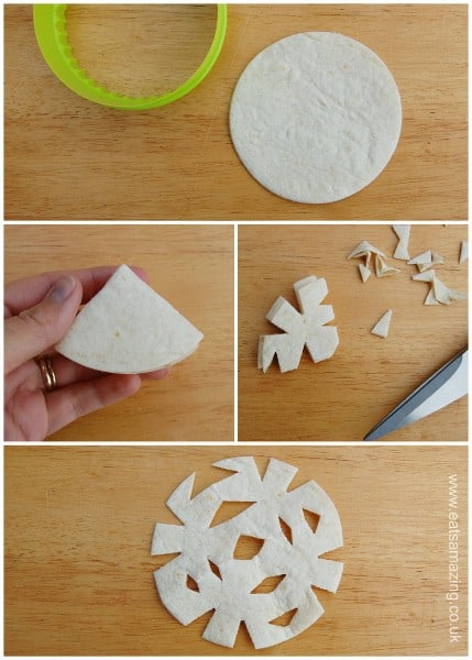 Eats Amazing UK - Edible Snowflake Craft with tortilla wraps - bake them to make cute snowflake tortilla crisps for festive party food