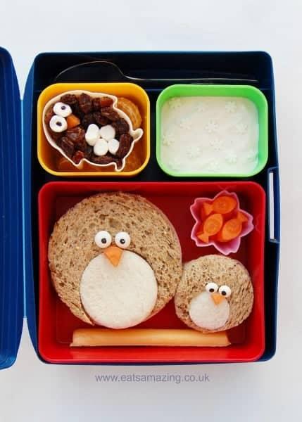 Eats Amazing UK - Fun Penguin Themed Kids Bento School Lunch Idea for Christmas