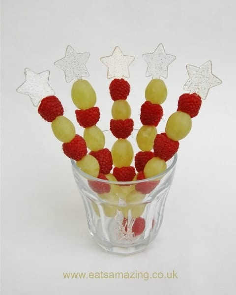 Eats Amazing UK - Healthy Red and Green Fruit Kebabs for a Christmas Party or Kids Snack