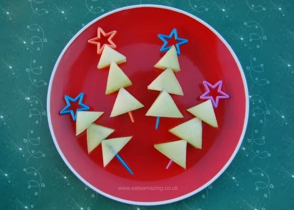 Eats Amazing UK - Melon Christmas Tree Skewers - Fun and Healthy Snack Food Idea for Kids