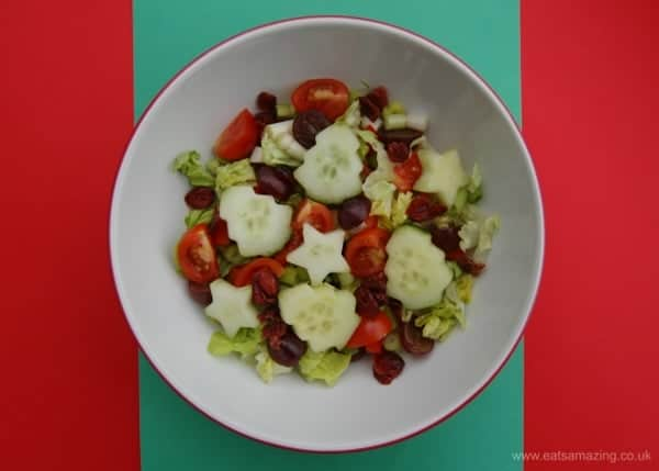 Eats Amazing UK - Red and Green Healthy Christmas Salad with Cucumber Stars and Christmas Trees