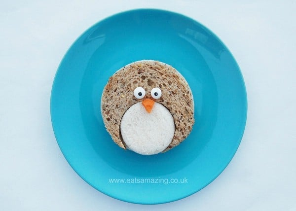 Eats Amazing UK - Simple Penguin Sandwich - such a cute healthy snack idea or for a winter themed lunch