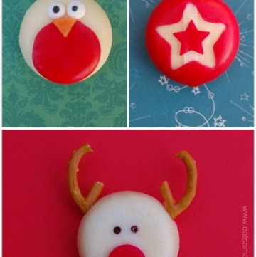 Fun and easy healthy Christmas food - festive Babybel cheese ideas for the kids from Eats Amazing UK - Robin, Star and Reindeer