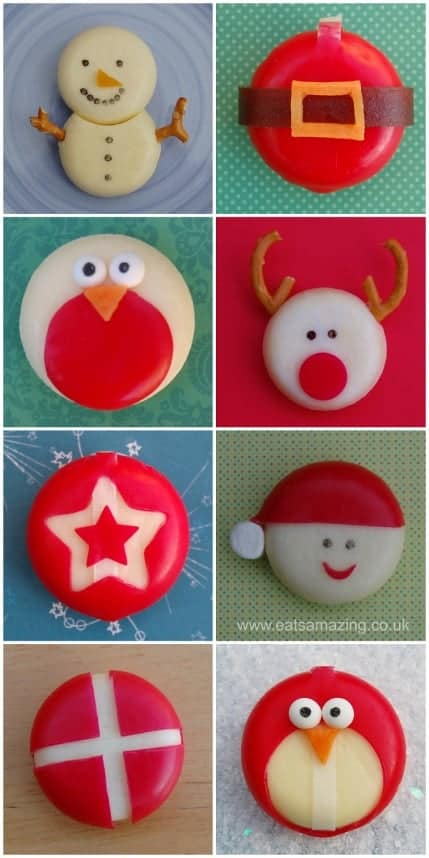 Fun and easy healthy Christmas food ideas - 8 festive Babybel cheese ideas for the kids from Eats Amazing UK #Christmas #ChristmasFood #kidsfood funfood #festivefood #xmas #foodart #santa #penguin #reindeer #healthykids