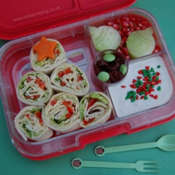 Edible Christmas Tree made from tortilla wrap slices - fun festive kids bento school lunch idea from Eats Amazing UK in the Yumbox Panino