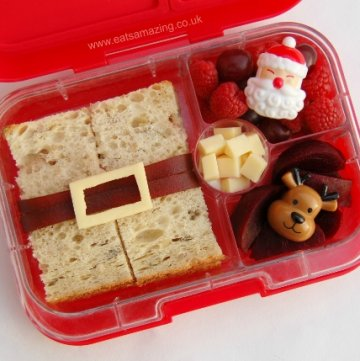 Really Simple Santa's belt Sandwich - fun and healthy Christmas packed lunch idea for kids - Eats Amazing UK
