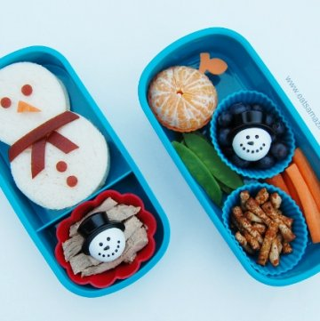 Winter Kids Bento Box packed Lunch with Snowman Sandwich from Eats Amazing UK - creative childrens food