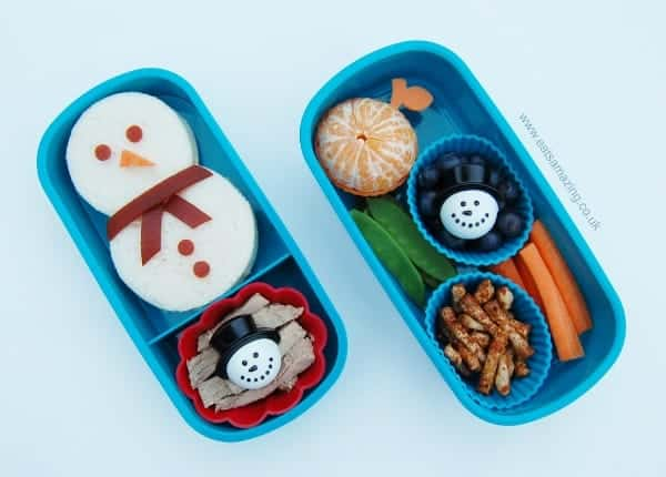 Winter Kids Bento Box Lunch with Snowman Sandwich from Eats Amazing UK